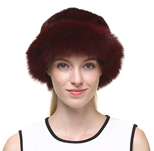 vogueearth Women'Real Knitted Mink Fox Fur Winter Warmer Hat Wine