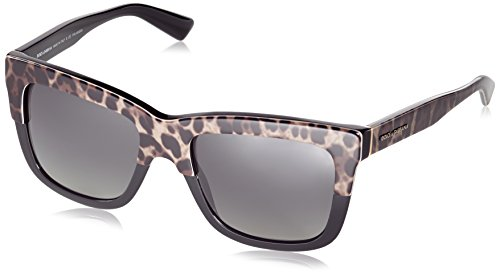 D&G Dolce & Gabbana Womens 0DG4262 Polarized Square Sunglasses, Top Leo On Black, 54 - Dolce Of Price Sunglasses And Gabbana