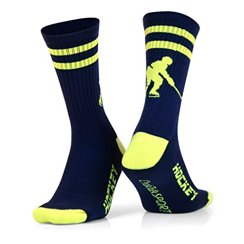ChalkTalkSPORTS Hockey Half Cushioned Crew Socks | Hockey Player | Navy/Neon