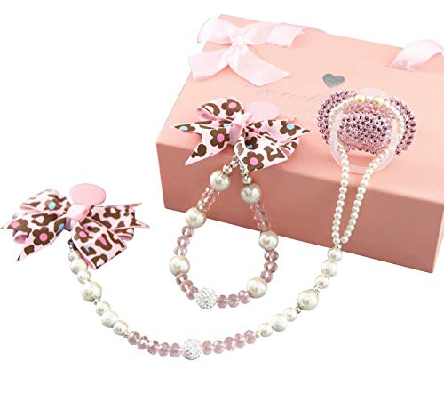 Dollbling Custom Baby Pacifier+Clip+Stroller Chain Set, Handmade Pink Rhinestones Leopard Crystal Bowknot Pacifier Chains