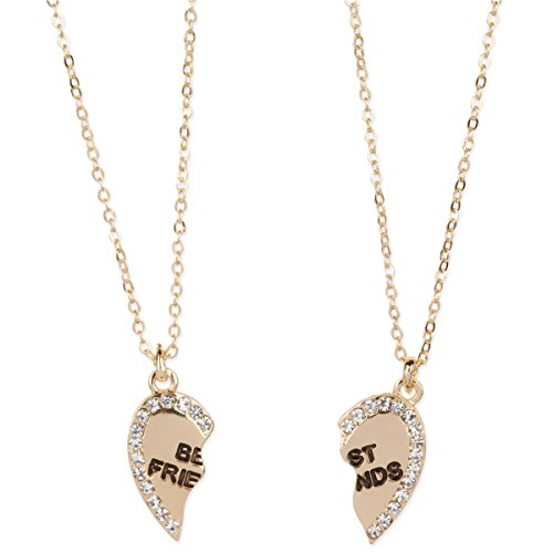 Heart Shaped Best Friends Pendants Crystal Gold Tone 2 Piece Necklace Set - Crystal Gold Tone Heart