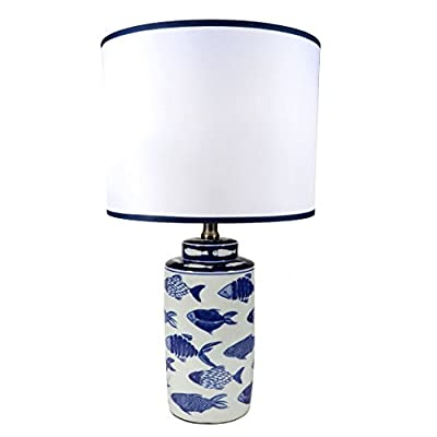 DEI Coastal 20 inches Ceramic Fish Lamp with Glazed Finish White with Blue Fish