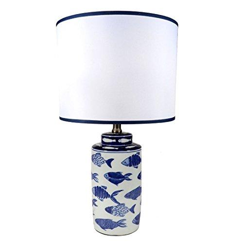 Ceramic Finish Glazed (DEI Coastal 20 inches Ceramic Fish Lamp with Glazed Finish White with Blue Fish)