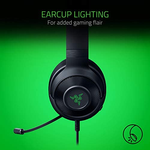Razer Kraken X USB Ultralight Gaming Headset: 7.1 Surround Sound - Lightweight Frame - Green Logo Lighting - Integrated Audio Controls - Bendable Cardioid Microphone - For PC - Classic Black