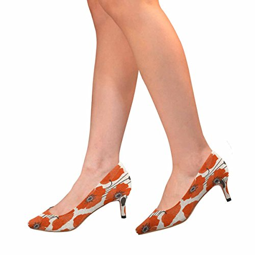 Scarpe Da Donna Low Cost Con Tacco Basso Gattino Scarpe A Punta Papavero Stampa Multipla 1