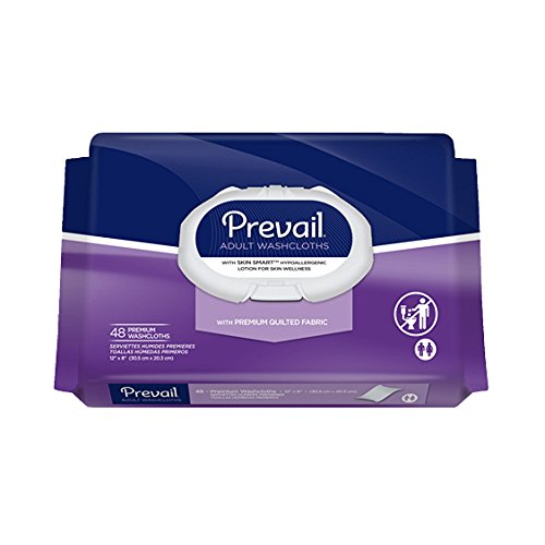 Shield Incontinence Care Washcloths - Prevail Premium Cotton Washcloth Soft Pak 12 x 8 [Pack of 48]