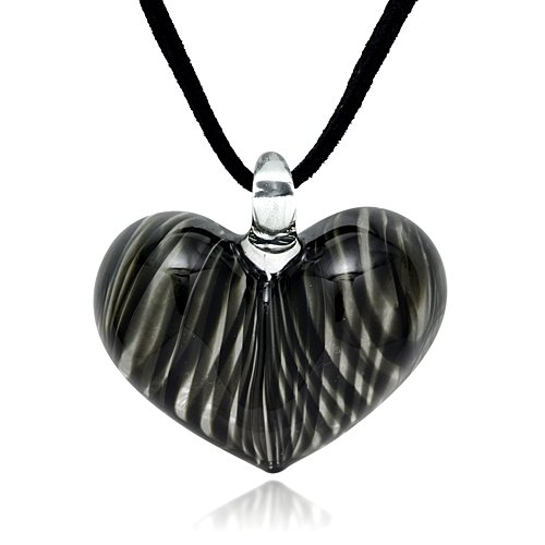 - Hand Blown Venetian Murano Glass Black Curve Line Heart Shaped Pendant Necklace, 18-20 inches