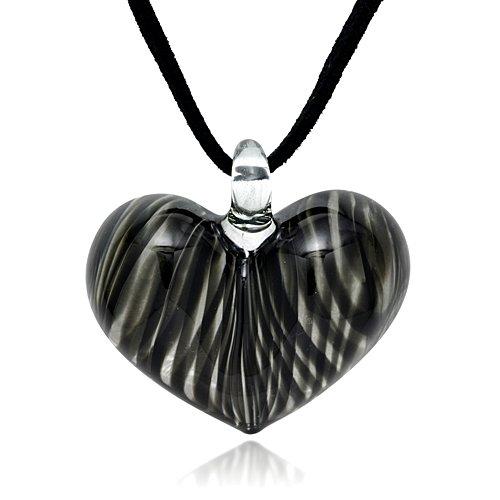 Hand Blown Venetian Murano Glass Black Curve Line Heart Shaped Pendant Necklace, 18-20 (Heart Venetian Necklace)
