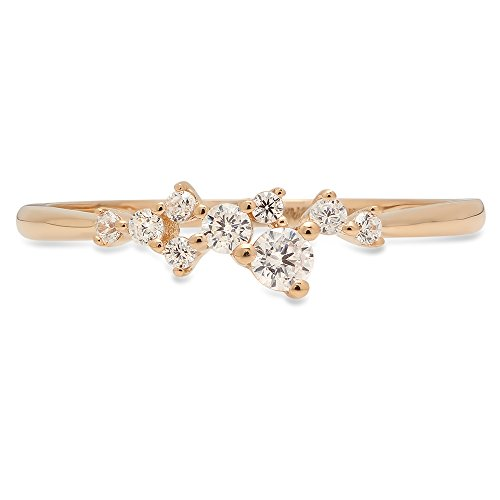 Clara Pucci Round Cut cluster Pyramid Bridal Anniversary Engagement Wedding Promise Ring Band 14K Yellow Gold, 0.03CT, Size 7 ()