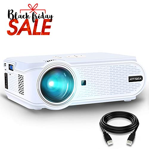 Projector, ARTSEA 2400Lux for Home Theater LED Video Projector Support 1080P, HDMI, VGA, USB, AV and Headphone Interface for Multimedia Home Theater Entertainment