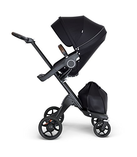 Stokke Xplory V6 Black Chassis Stroller with Brown Leatheret