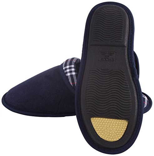 Pattern Memory Foam Fabric Clog amp; Casual Navy Suedette Ofoot Men's Checked Women's aFqBnSwX