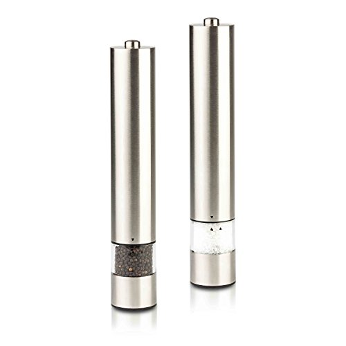 (Modernhome Gourmet Electric Salt and Pepper Grinder Set, Silver )