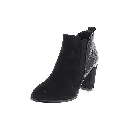 1ecae5f9 Botas Negras Gamuza de 9cm de Tacones Gruesos y Croco Ver: Amazon.es:  Zapatos y complementos