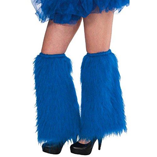 Amscan Party Perfect Team Spirit Furry Leg Warmers Accessory, Blue, Faux Fur , Pack of 2