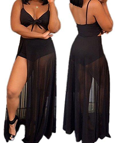 Women Sexy V Neck Criss Cross Knotted Front Cutout Romper Mesh Maxi Split Dress