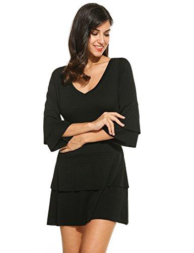 Buy bell sleeve black dress - 2