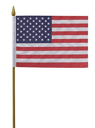 American Made 12x18 Flag is Mounted on a 30 Wood Staff 6 Dozen Beautiful Colors, 12x18 US Stick School Classroom Flags Made in The USA