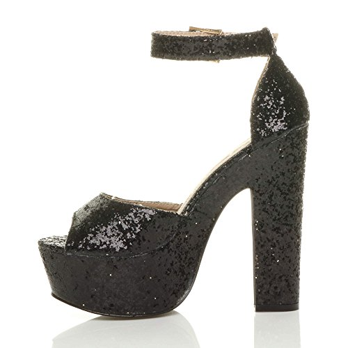 Party high Womens Shoes Black Heel Ladies Toe Ajvani peep Ankle Size Strap Glitter Platform Sandals FT4Awx