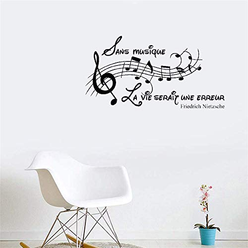(Hetsa Vinyl Wall Decal Wall Stickers Art Decor French Quote Sans Musique, La Vie Serait Une Erreur - Friedrich Nietzsche for Music Room Living)