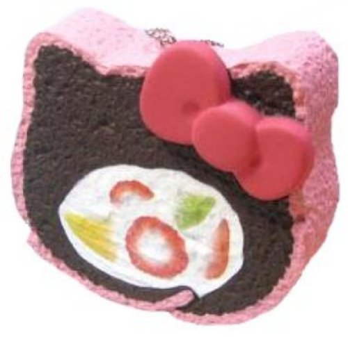Authentic Chocolate Hello Kitty Sweets Cafe Fruit Cake Rolls with Tag