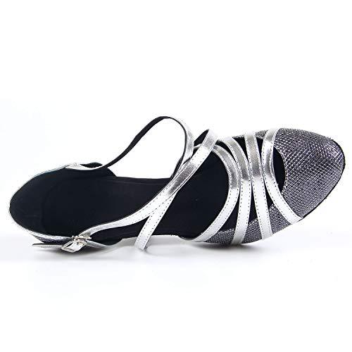 Baile 8cm Samba Danza Vals Gris Salón Latino Tango Para Mujer Salsa De Sandalia Zapatos Syrads 6qwEff
