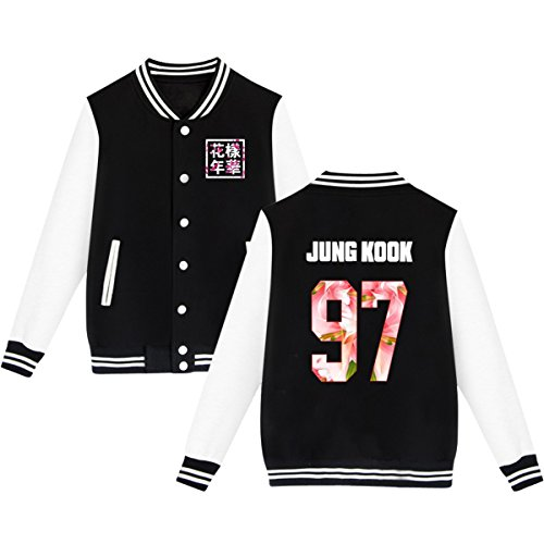 BTS Baseball Jacket Uniform Bangtan Boys Suga Jin Jimin Jung Kook Sweater Coat M Black JUNG KOOK -
