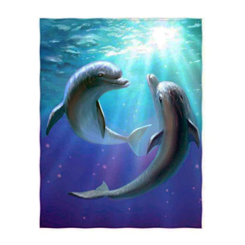 QH 58 x 80 Inch Lovely Dolphins Print Super Soft Throw Blanket for Bed Couch Sofa Lightweight Travelling Camping Throw Size for Kids Adult All Season