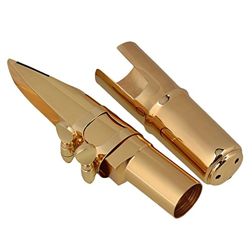 Surfing Brass 7# Nickel-plated E-flat Alto Saxophone Mouthpiece with Cap Ligature Golden by Surfing (Image #6)