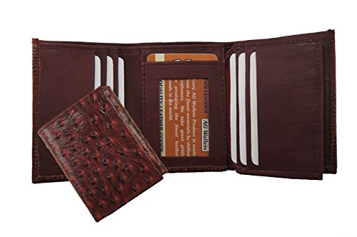 Men'S Genuine Leather Ostrich Skin Embossed Trifold Cowboy Wallet Red