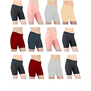 Sexy Basics Women's 12 Pack 4-Way Stretch Spandex Yoga - Bike Active Shorts (MEDIUM / 6, 12 Pack- Assorted Solid Sheen)