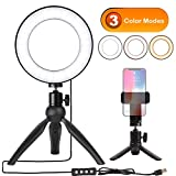 Natwag 6'' Selfie Ring Light with Tripod Stand & Cell Phone Holder for YouTube Video and Makeup,Live Stream,Portrait Photography.Mini LED Camera Light with 3 Light Modes & 11 Brightness Level