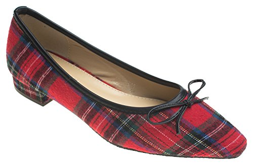 AnnaKastle Red Flat With Womens Loafer Plaid Pointy Bow Ballet Toe r1rzg7xw