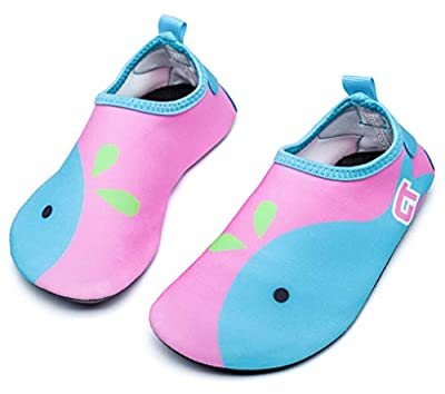 Giotto Kids Swim Water Shoes Quick Dry Non-Slip for Boys & Girls, Pink/Blue, 20-21