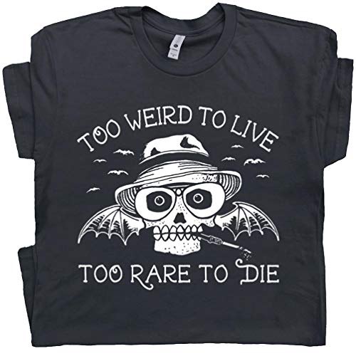 L - Hunter S Thompson T Shirt Fear and Loathing in Las Vegas Tee Too Weird to Live Rare to Die Vintage Black (Fear And Loathing In Las Vegas Gonzo)
