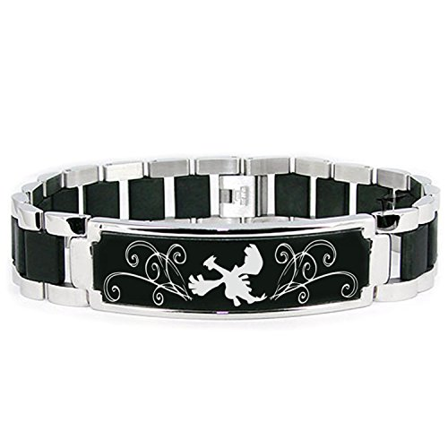 Stainless Steel 2nd Gen Lugia Pokémon Engraved Black ID Bracelet