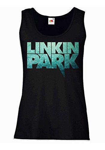 "Camiseta de tirantes mujer ""Linkin Park"" - text-only texture logo - 100% algodòn LaMAGLIERIA"
