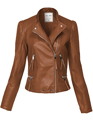 Silver Hardware All Over Zip Moto Faux Leather Jackets, 137-camel, Large