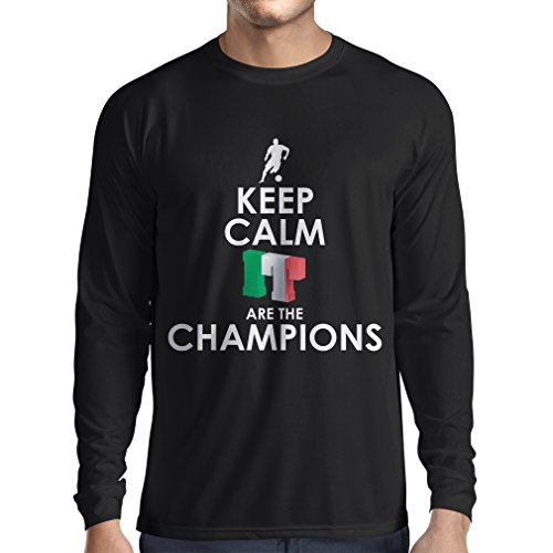 fan products of N4465L Long Sleeve t Shirt Men Keep Calm, Italians Are The Champions (Large Black Multi Color)