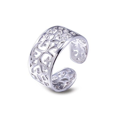 Toe Rings for Women Sterling Silver Adjustable Open Rings Tail Ring - VIKI LYNN - Box Sterling Silver Ladies Ring