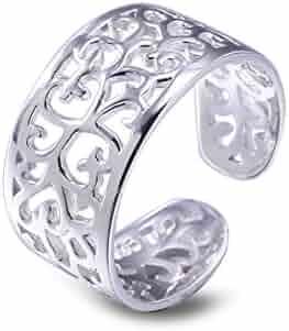 Toe Rings for Women Sterling Silver Adjustable Open Rings Tail Ring - VIKI LYNN
