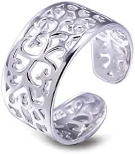 Toe Rings for Women Sterling Silver Adjustable Open Rings Tail Ring - VIKI LYNN