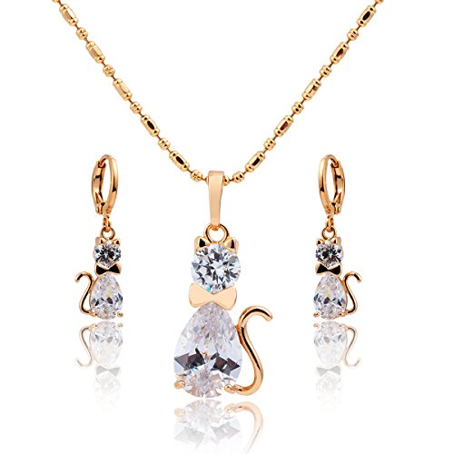 Windshow 18K Gold Filled Clear Crystal Cat Jewelry Sets for Children Kids (Gold Filled Chain Earrings)