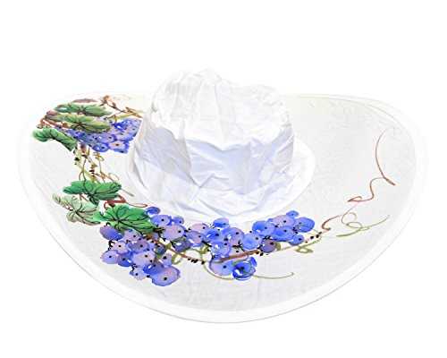 Twist-and-Fold Hat Women's Foldable Cotton Sun Hat, 18 in diameter brim (Handpainted Grapes) ()