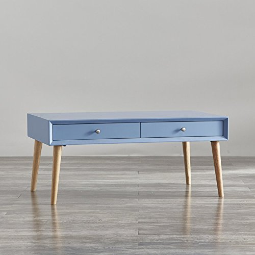 Modern Coffee Table With 2 Drawers - Contemporary Living Room Decor - Mid-century Style Cocktail Table (Heritage Blue) ()