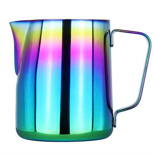 Milk Frothing Pitcher – WeHome Stainless Steel Coffee Milk Frothing Pitcher Creamer Frothing Cup for Espresso Cappuccino Latte Maker,12 oz/350ML