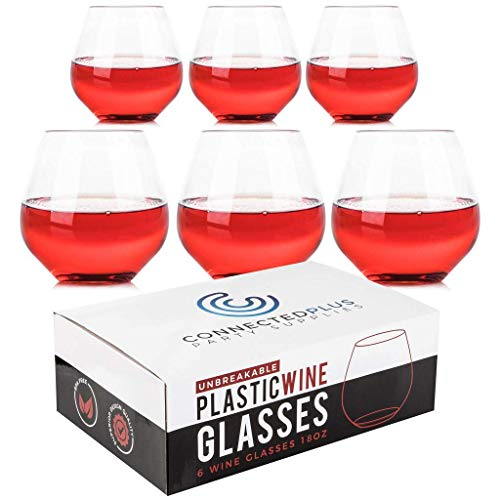 12oz Ideal for Cocktails /& Scotch Set of 4 Perfect for Homes Party /& Bar 100/% Tritan Shatterproof Unbreakable Wine Glasses Kuke Plastic Wine Glasses