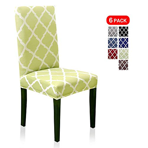 6 Pack Chair Slipcovers for Dining Room Spandex Protector Covers for Kitchen Geometric Pattern, Grass Green