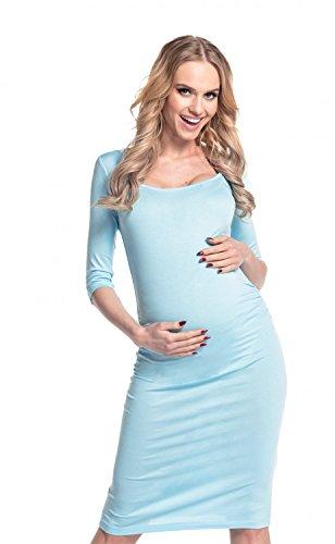 Happy Mama - Vestido de premamá, cintura fruncida, elástico, 939p azul claro