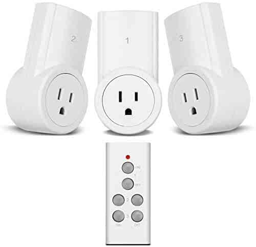 Etekcity Remote Control Outlet Wireless Light Switch for Household Appliances, Plug and Go, Up to 100 ft. Range, FCC ETL Listed, White (Fixed code, 3Rx-1Tx)